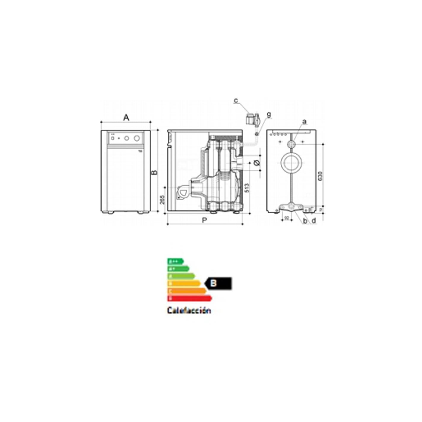 Medidas de la caldera de gasoil