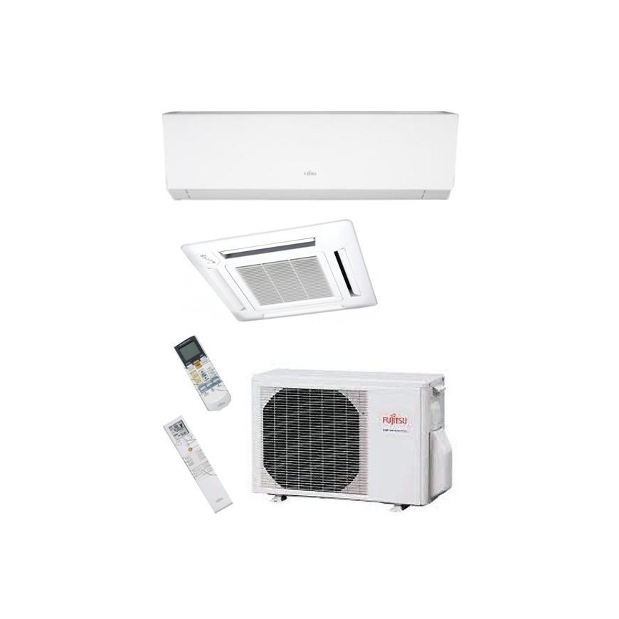 Aire acondicionado 2x1 Fujitsu 1cassette AUY35UI-MI+1split ASY25MI-LMC+ externa AOY50UI-MI2