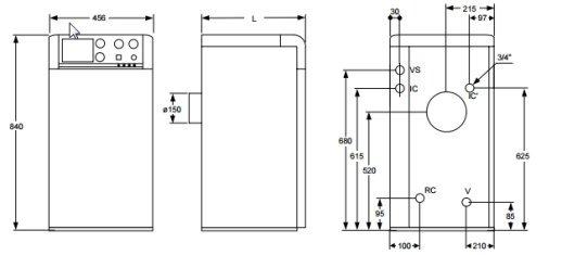 Medidas de la caldera de gasoil Domusa Sirena Mix Duo HFD 30 E_product