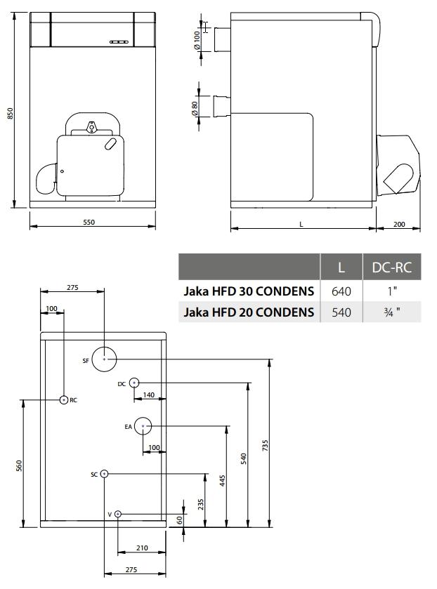 Dimensiones de la caldera de gasoil