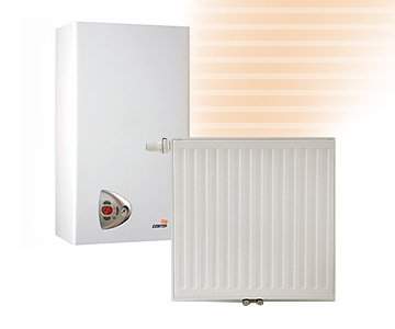 caldera y radiador para calefacción