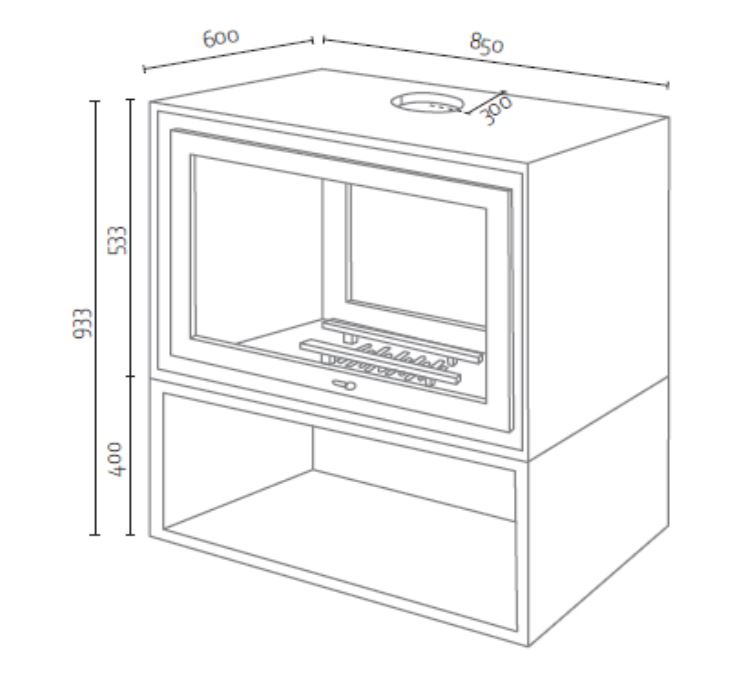 Medidas estufa de leña Basix Box