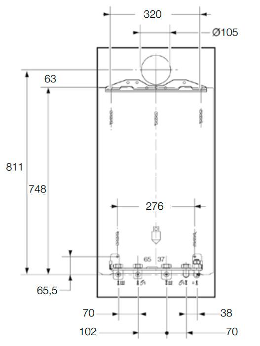 Dimensiones de la caldera con plnatilla de instalacion