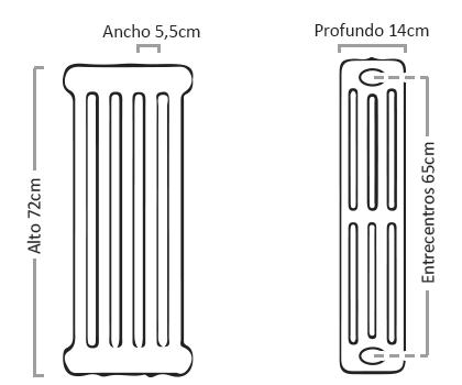 Medidas del radiador BaxiRoca N80-4