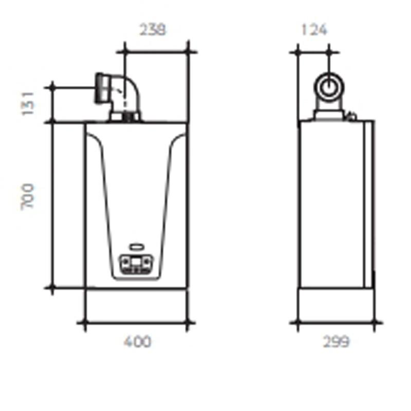 Dimensiones de la Caldera BAXI Neodens Plus 33/33 F Eco