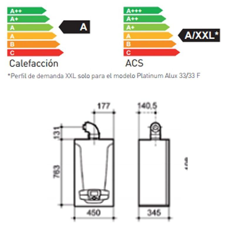 Dimensiones Caldera BAXI Platinum Alux 33/33 F