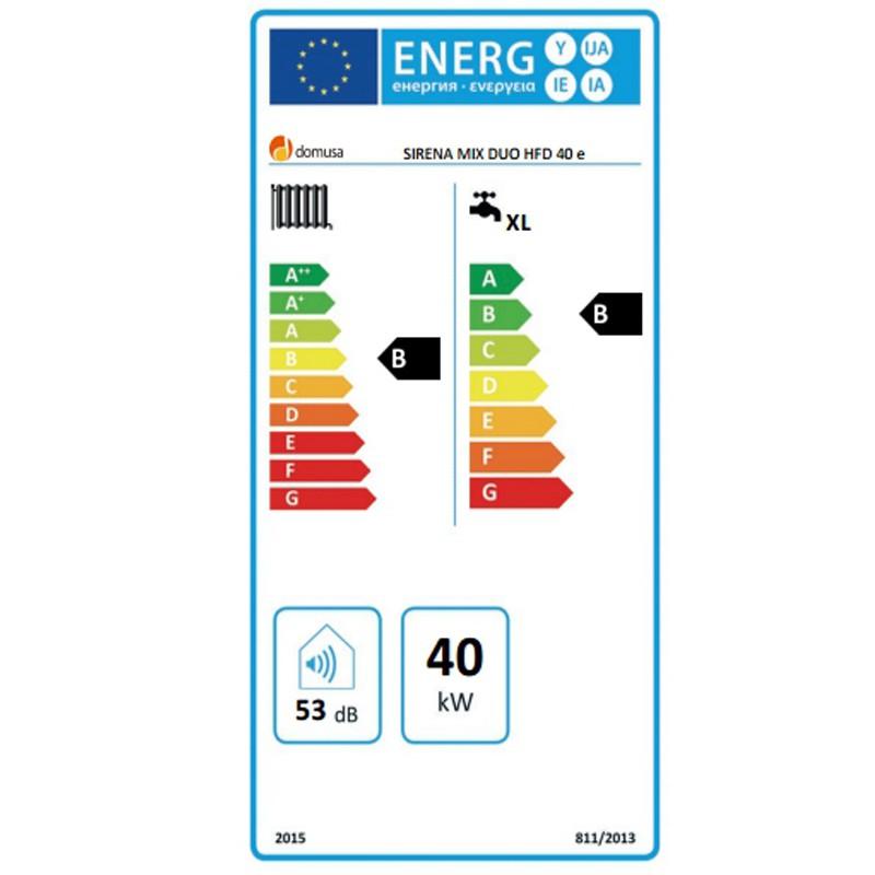 Clasificación energética de la Domusa Sirena Mix Duo HFD 40 E