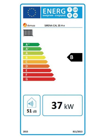 Clasificación energética de la Domusa Sirena Cal 35 H E