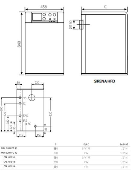 Dimensiones Sirena Cal HFD 50