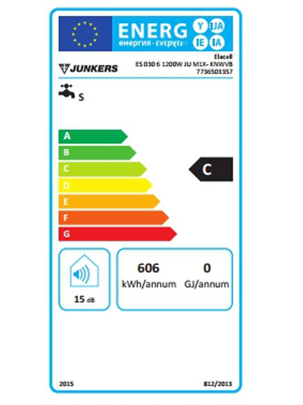 Clasificación energética del termo eléctrico Junkers Elacell 30L vertical