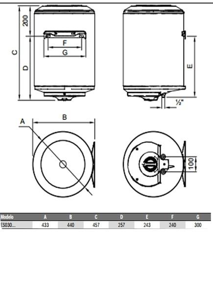 Dimensiones del termo eléctrico Junkers Elacell 30L