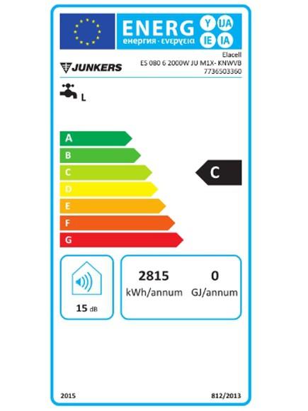 Clasificación energética del Termo eléctrico junkers Elacell 80L vertical