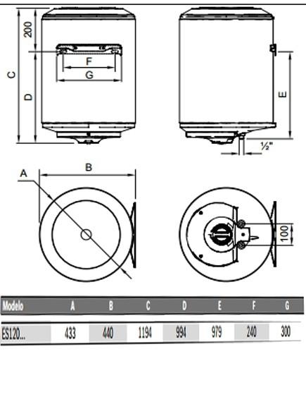 Dimensiones  Elacell 120L vertical