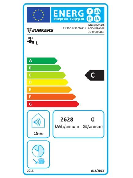 Clasificación energética del termo eléctrico Junkers Elacell 200 L altos litrajes