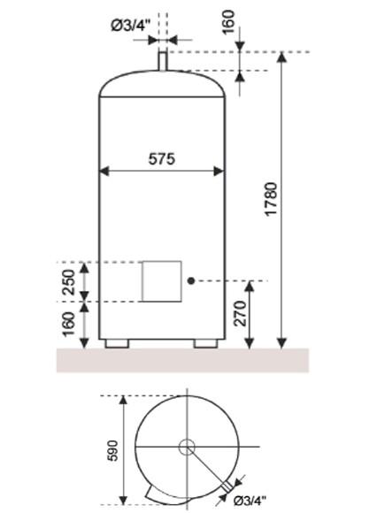 Dimensiones del Calentador eléctrico Junkers Elacell 300 L