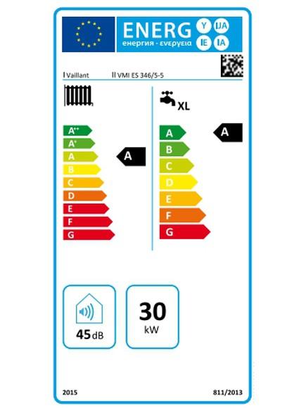 Clasificación energética Caldera de condensación de gas Vaillant ecoTEC plus VMI ES 346/5-5