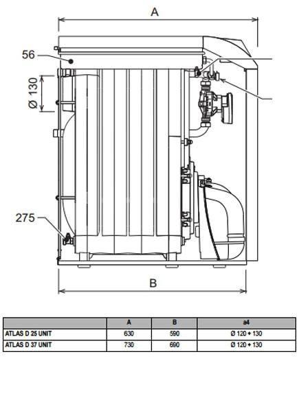 Dimensiones 2 de la caldera altas d 50 unit