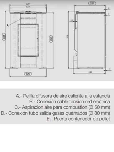 Dimensiones Estufa de pellets Ferroli Penélope
